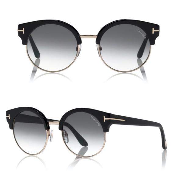 New TOM FORD Alissa Round Black Sunglasses